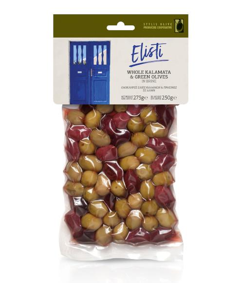 Whole Kalamata & green olives in vacuum bag